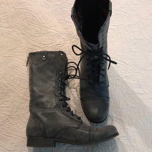 Madden Girl Galleriaa combat style boots gray 8.5